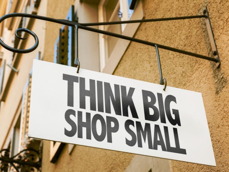 label: think big, shop small
