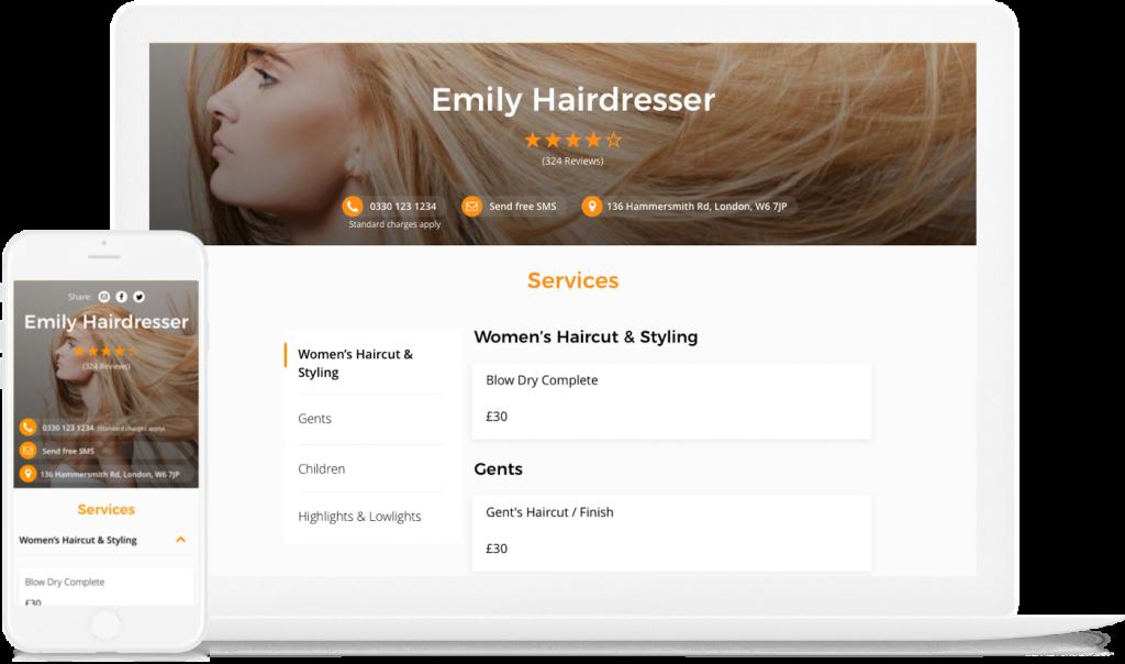 UENI page for hairdresser