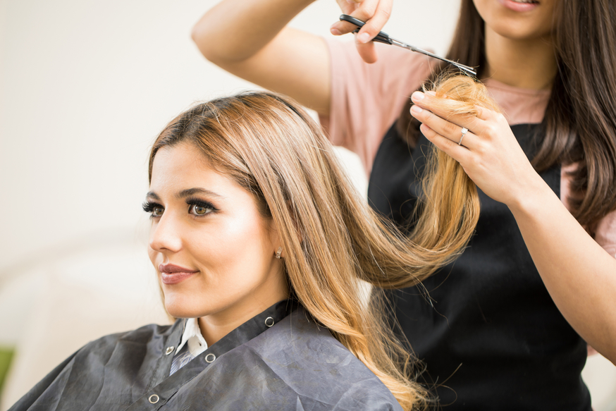 A woman in a hairdresser