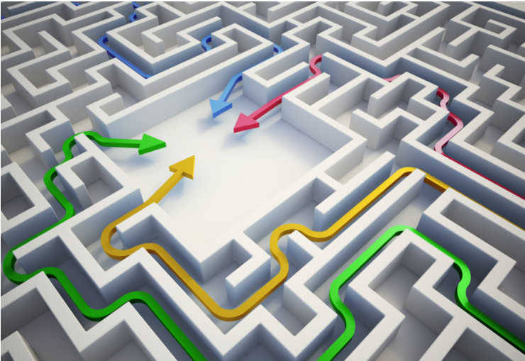 four arrows pointing at the centre of a maze