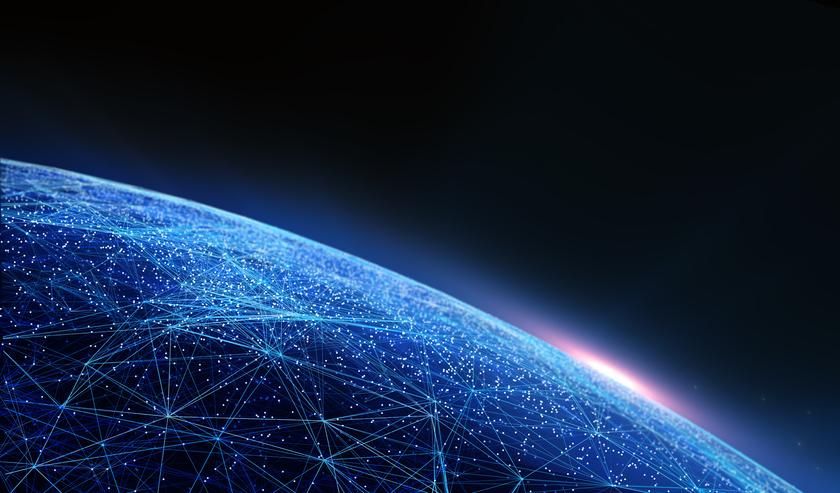 Digitales Netz umspannt die Erde Konzept