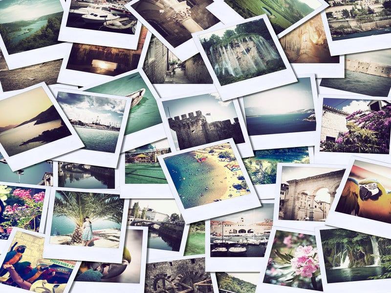 assortiment de photos polaroid disposees
