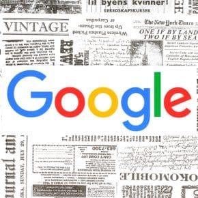 logo google entouré de titres de journaux à l'allure vintage