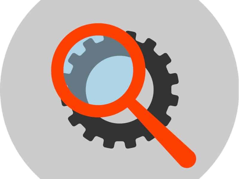 icone de la loupe google sur une roue de paramètres