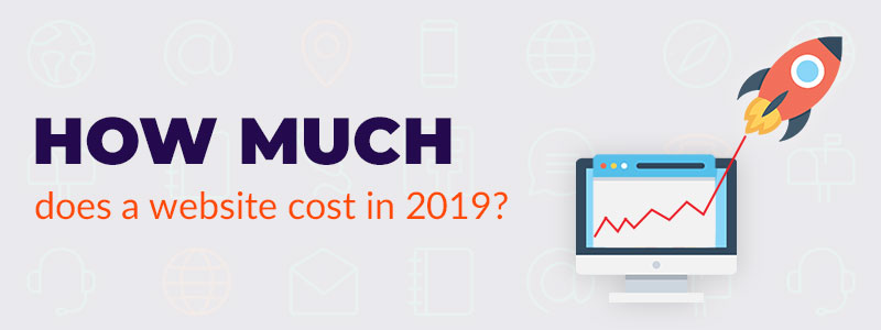 Banner with the words how much does a website cost in 2019 and a rocket flying out of a desktop screen