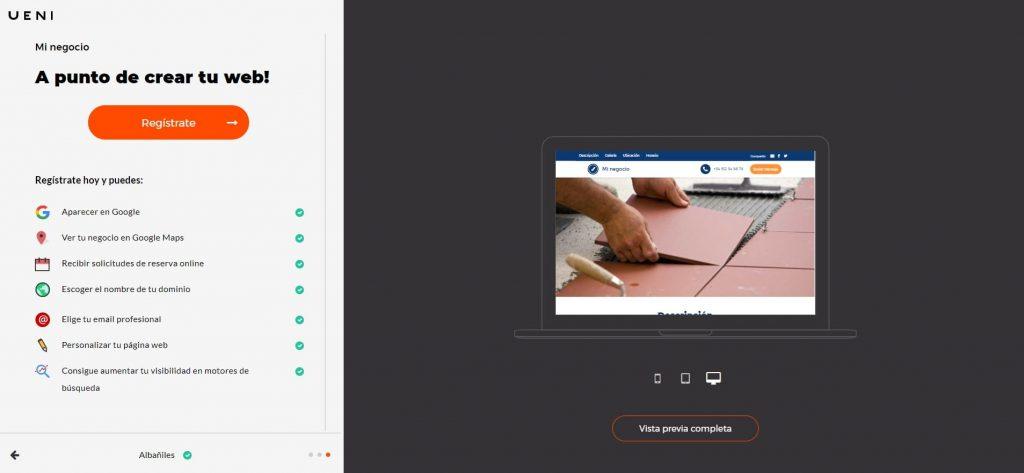 como abrir crear pagina web profesiona gratis tercer paso