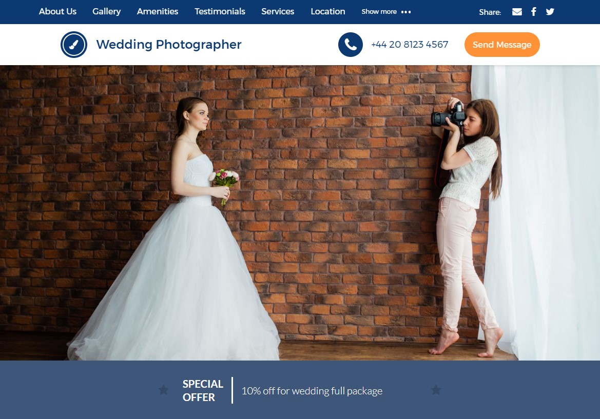 An example of a UENI Wedding Photography business page