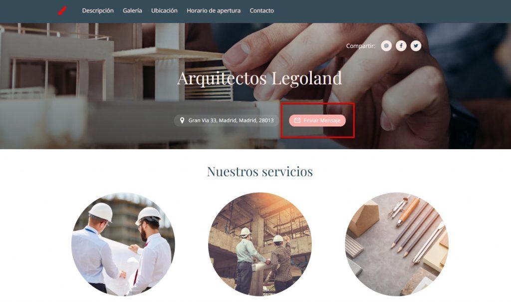 Crear pagina web profesional llamada a la accion