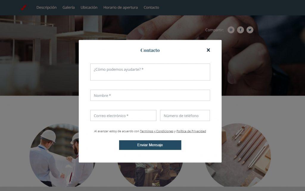 Crear pagina web profesional llamada a la accion envio