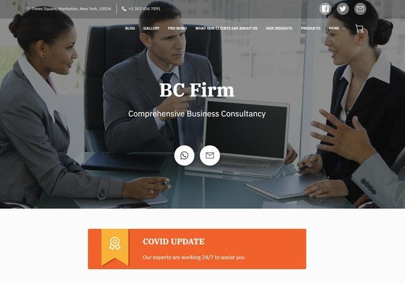 The visual header of a Business Consultancy company built using UENI
