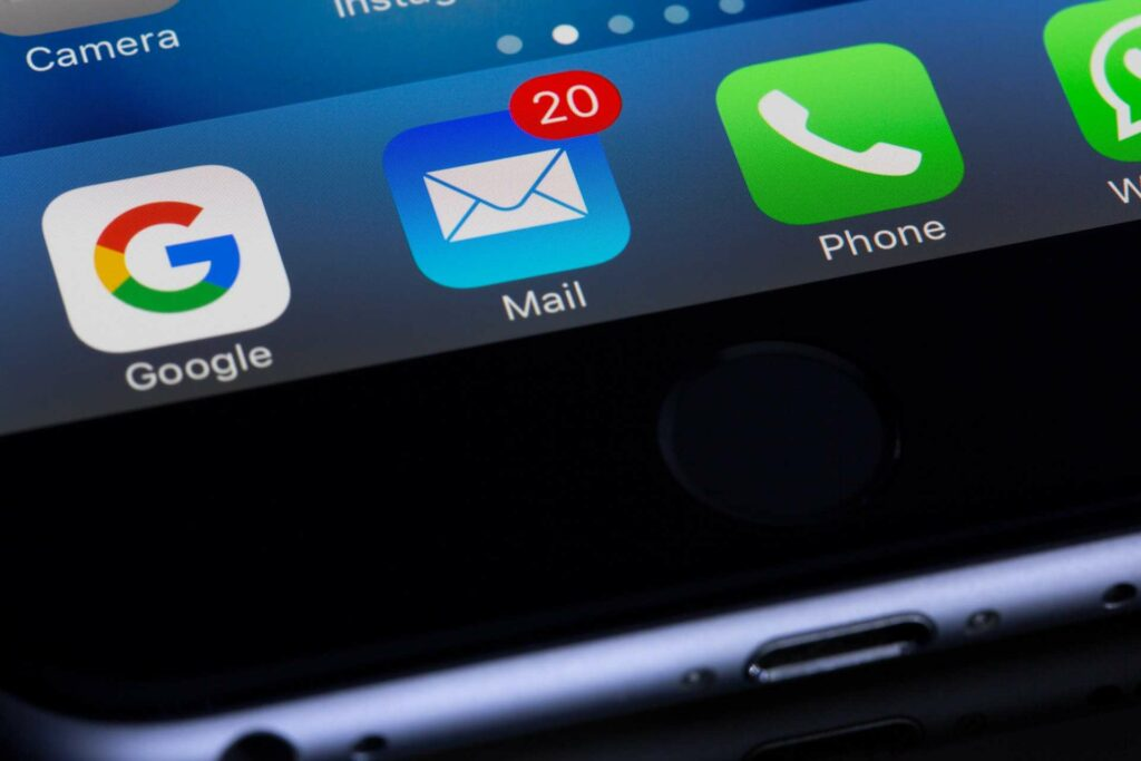 A Smart Phone close up on the email app icon.  Photo by Torsten Dettlaff from Pexels