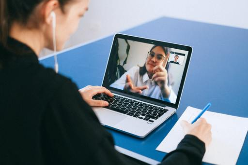 Two women on a video call.