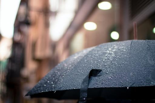 Raindrops on an umbrella