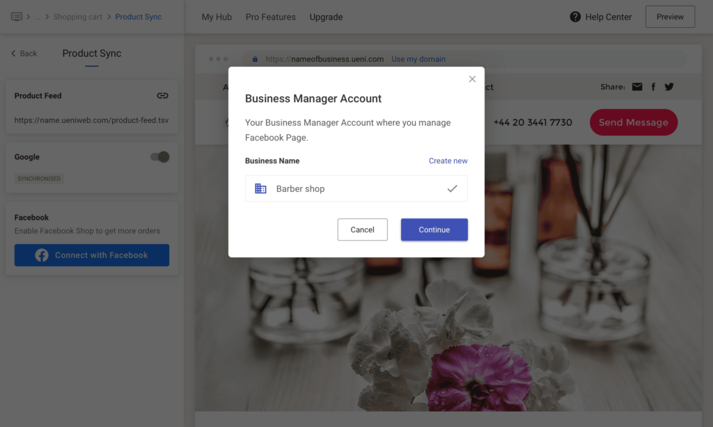UENI Facebook Sync, Business Account Already Active