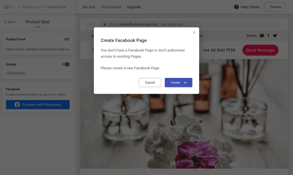 UENI Facebook Sync, Business Page Not Active