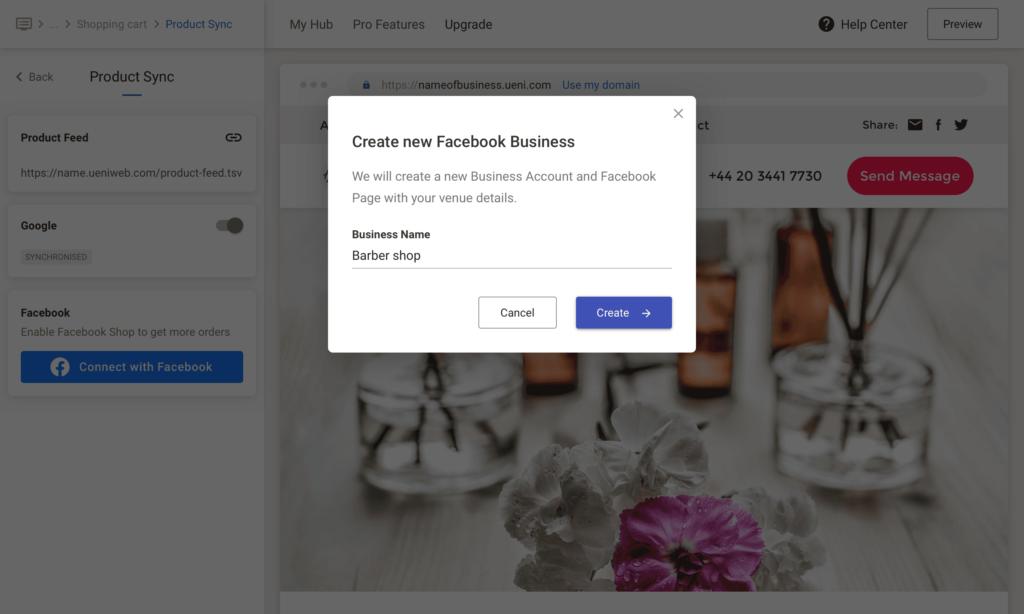 UENI Facebook Sync, No Business Built
