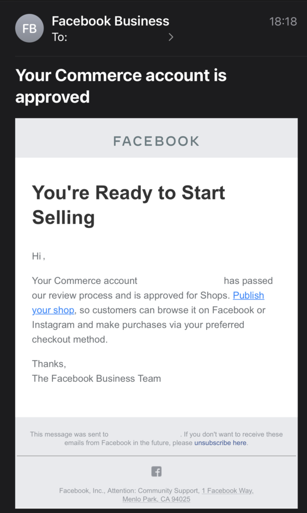 A Facebook Business Account Email