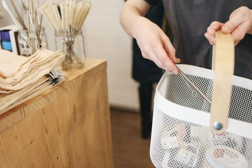A person holding a white basket full of products