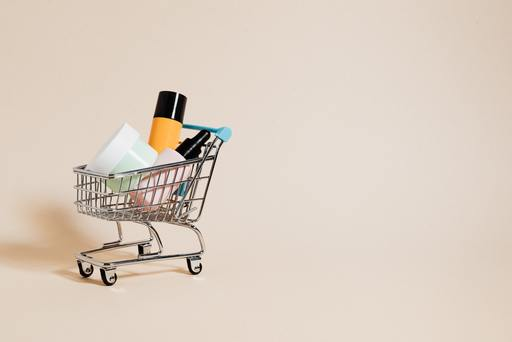 A shopping cart with beauty products inside