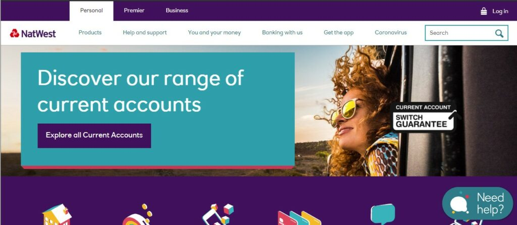 A screenshot of NatWest's home page