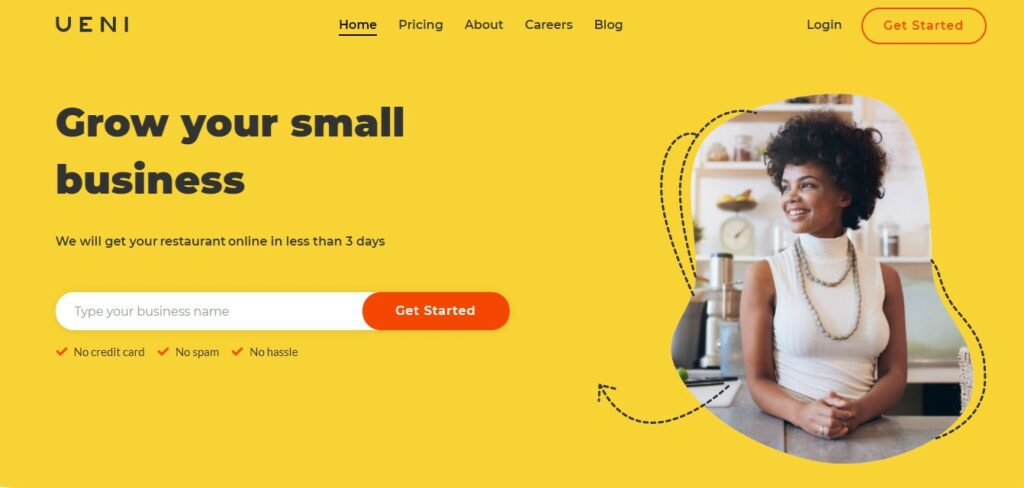 UENI.com's homepage, where we can get your small business online in fewer than 3 days.