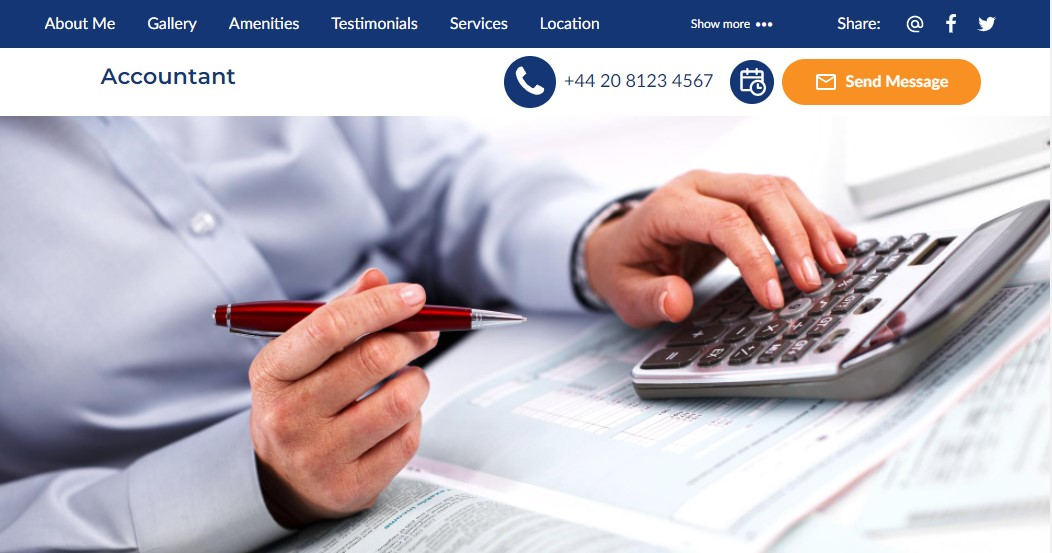 The header from an accounting website built by UENI