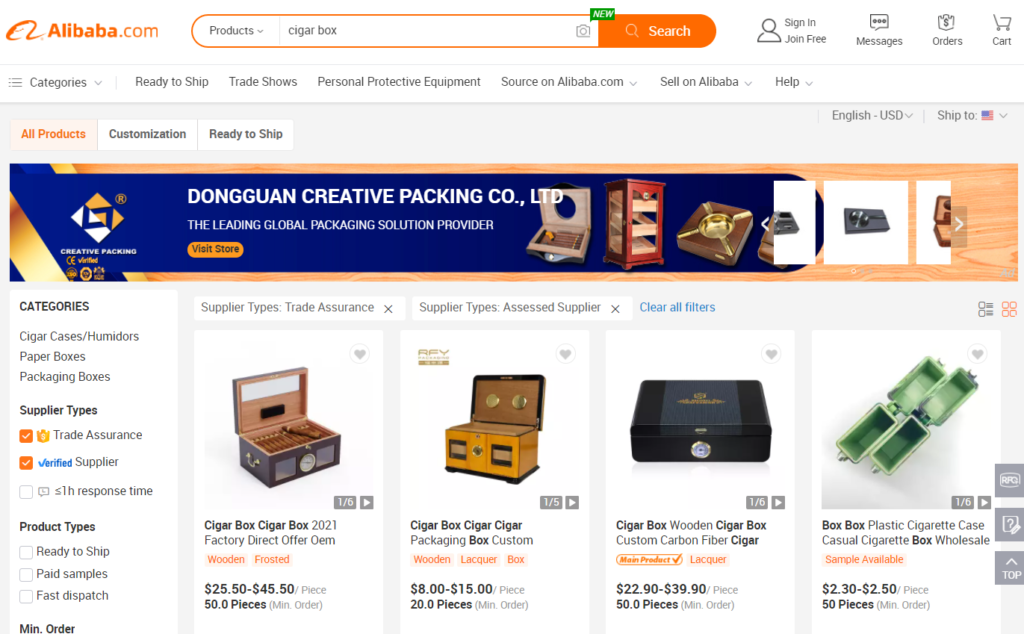 A screenshot of Alibaba's interface with a search for Cigar Boxes