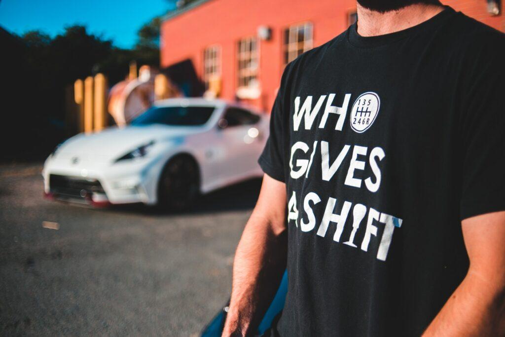 "A car themed custom shirt reading ""who gives a shift"""