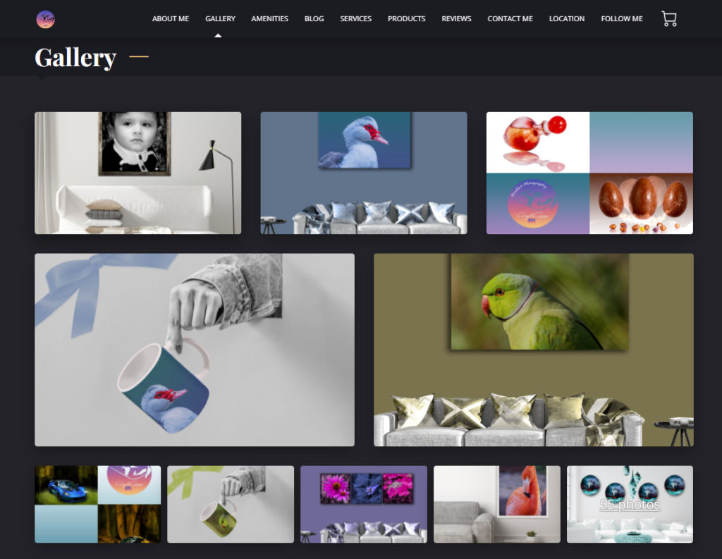 The Gallery portion of Angela Carrion's website