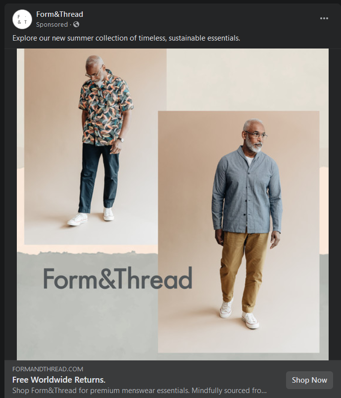 A Facebook advertisement for Form&Thread