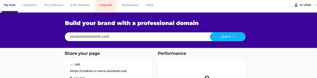 UENI allows you to search for custom domain names within the UENI hub