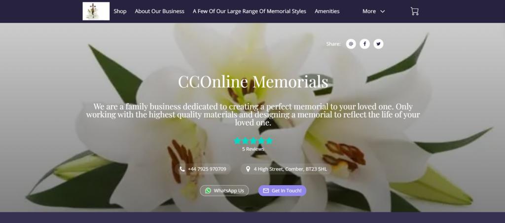 CCOnline Memorials website