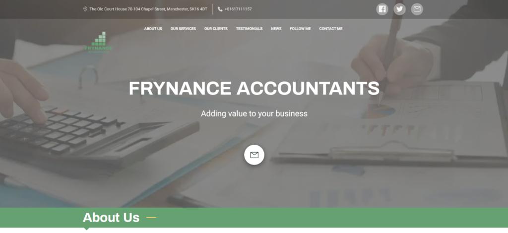 Frynance Accountants - small business website