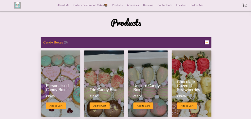 Maria's Baking Stories - a small business website built by UENI