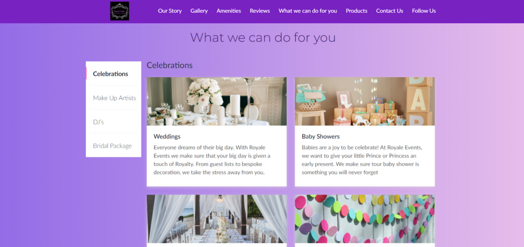Royale Events website