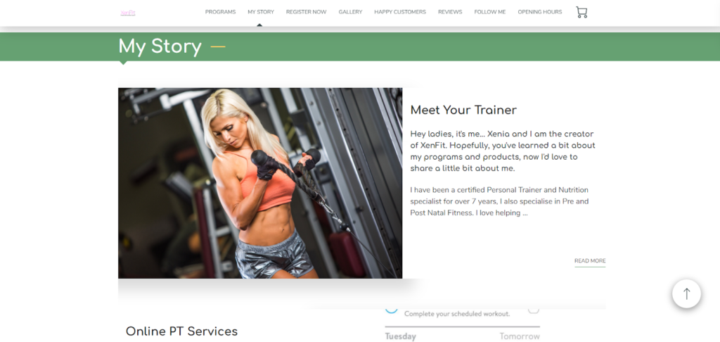 Xenfit, a personal trainer's website
