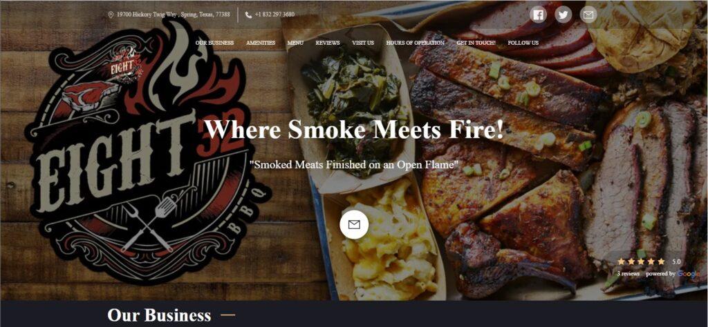 Eight32 BBQ restaurant website