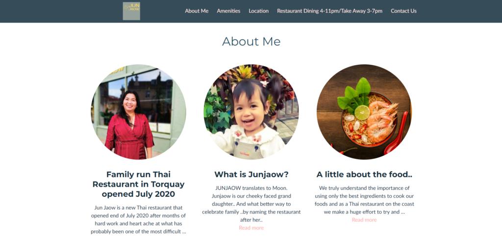 Junjao Thai's website - a great restaurant template