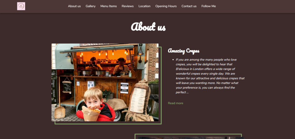 B'elicious Creperie's about us section on their website
