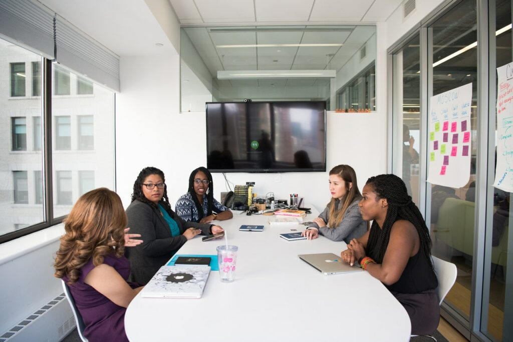 Women in a meeting room having a business meeting