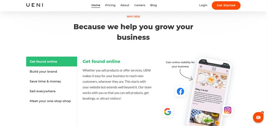UENI small business website builder