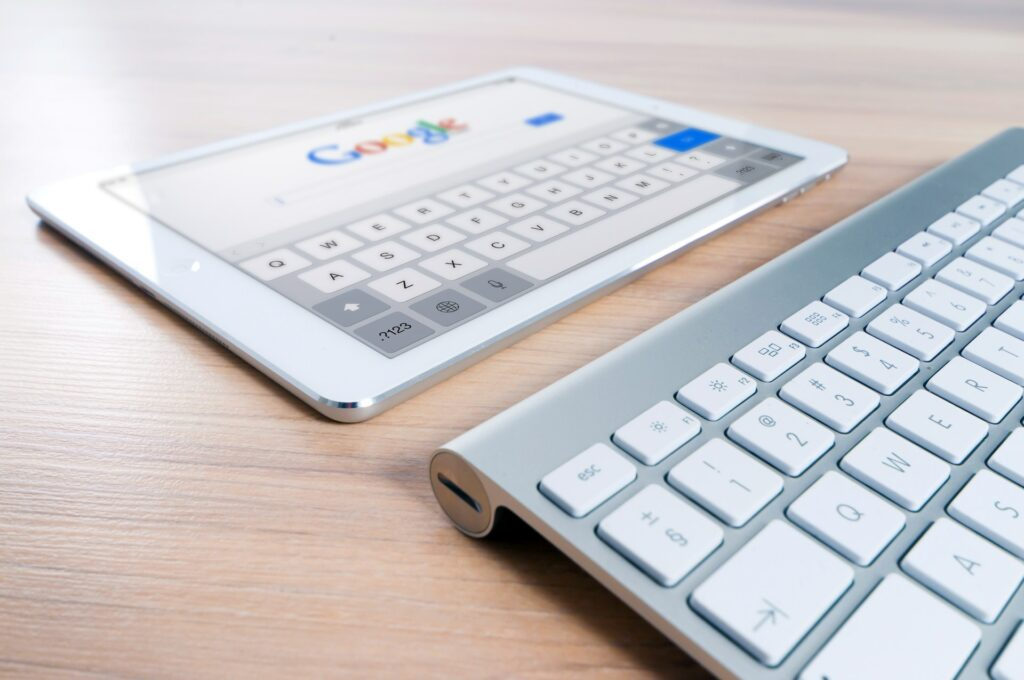 An iPad open to Google's search engine