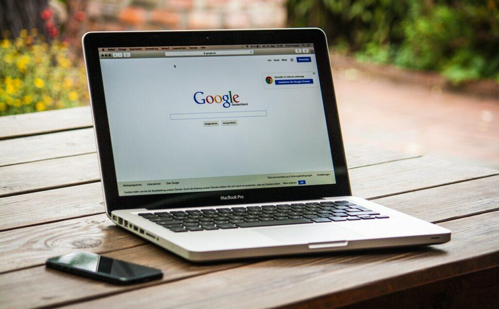Macbook Pro with Google Open