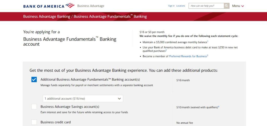 Bank of America Business Advantage Fundamentals Landing Page