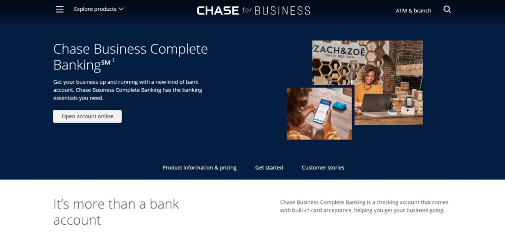 Chase for Business Banking Landing Page