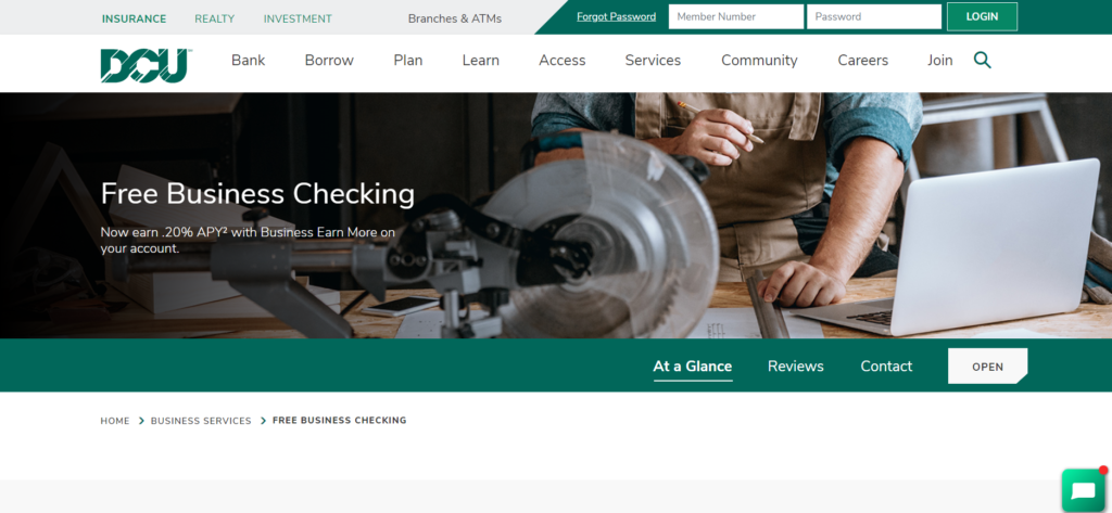 DCU Free Business checking landing page screenshot