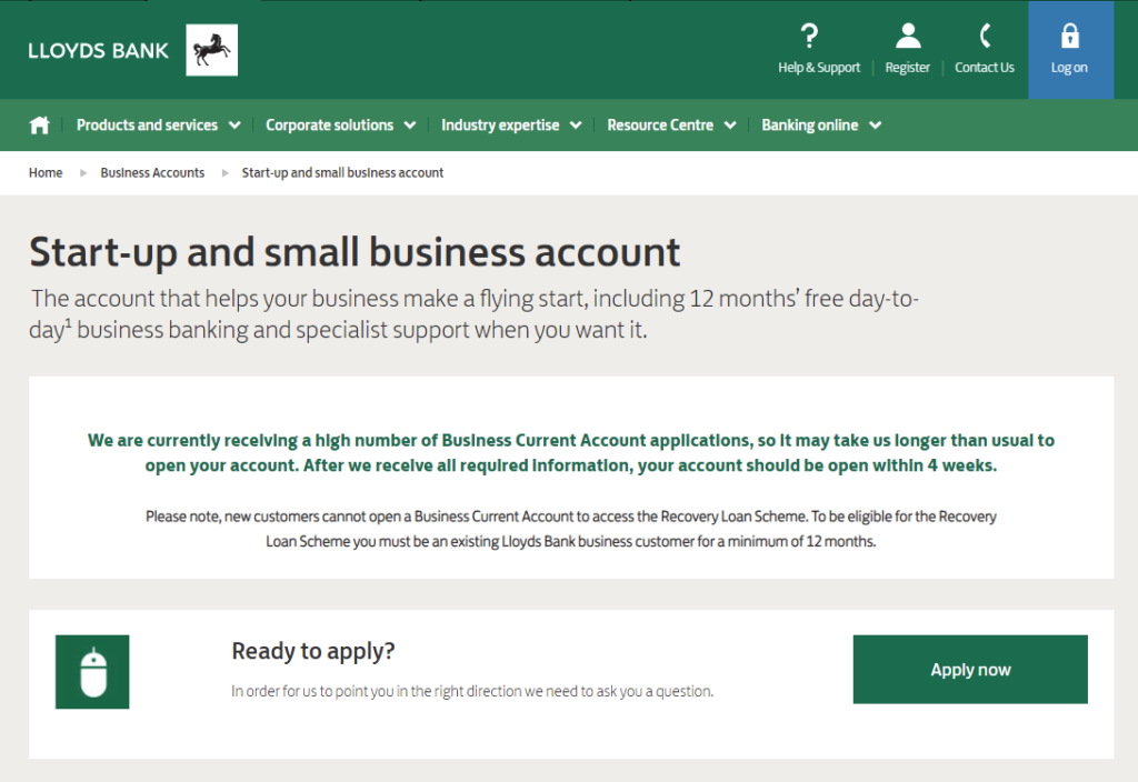 Llooyds Start Up Banking Account