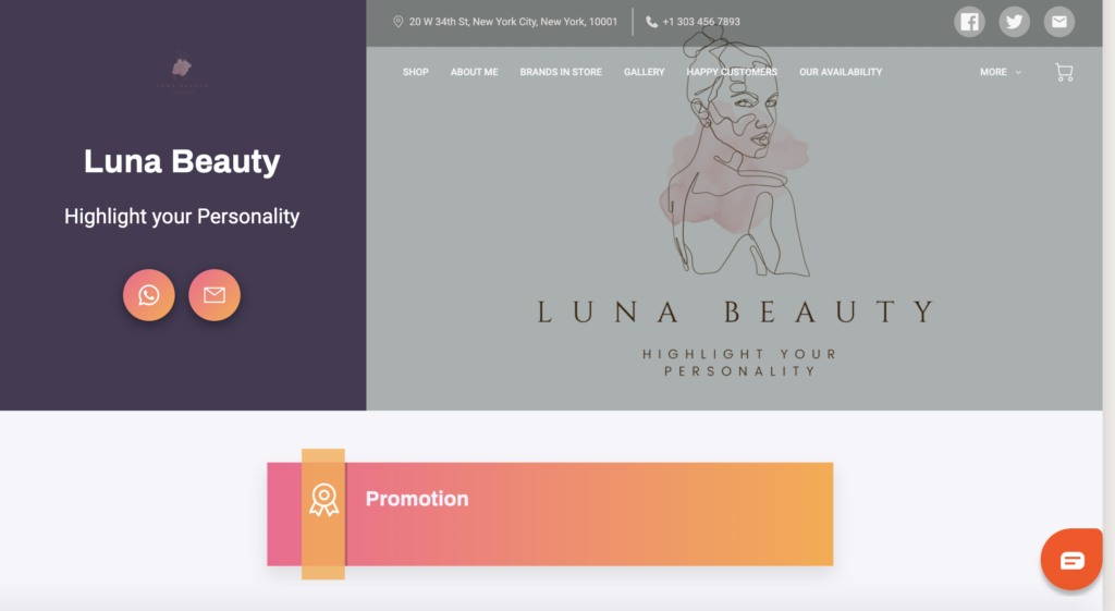 The header image of Luna Beauty, shown with the Organic Template