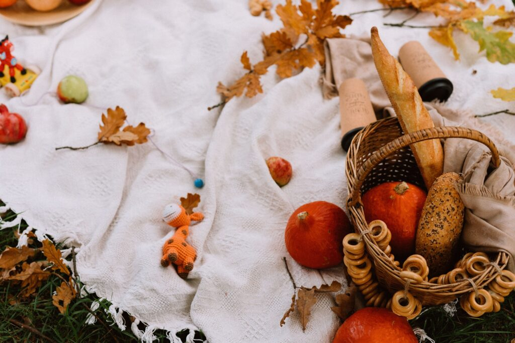 A photo of a blanket set  on grass with fall leaves on it.